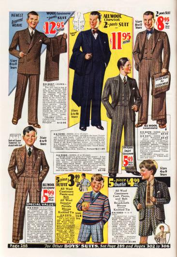 Oben befinden sich Anzüge für Jungen bis 17 Jahre mit einer passenden Zweithose zum Wechseln. Alle Anzüge sind aus Woll-Kaschmir Mischstoffen. Unten sind schließlich Anzüge für Jungen im Alter von 3 bis 9 Jahren aus Woll-Kaschmir mit langen und kurzen Hosen.