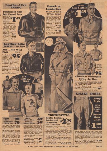 Jacken aus Leder ähnlichem Material. Knickerbocker im Armee Stil und ein Trenchcoat aus gummiertem Gabardine. Links unten: Pullover mit Reißverschluss und ein Pullover mit Micky Maus Aufdruck.