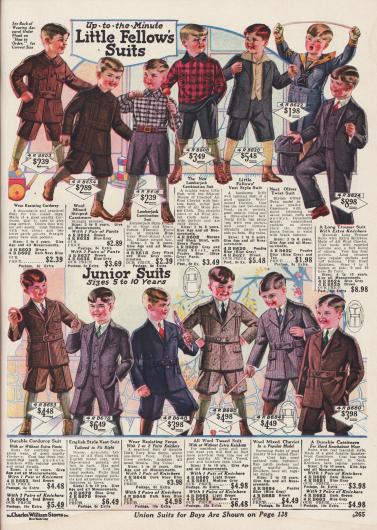 Spielanzüge für Jungen aus Kord, Woll-Kaschmir und Woll-Cheviot. Zwei dieser Spielanzüge sind im Holzfällerstil und einer der Anzüge ist ein Oliver Twist Anzug. Unten im Bild sind Sonntagsanzüge für Jungen aus Kord, Woll-Cheviot, Woll-Serge, Woll-Tweed und Woll-Kaschmir.