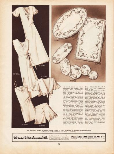 St 1731: Nachthemd aus weißem Wäschestoff mit hübscher Lochstickerei. Kurze Puffärmelchen. St 1732: Ärmelloses Nachthemd aus weißem Batist mit Stickereimotiven. Seitlich gebundener Gürtel. Dazu gehört das Jäckchen St 1733. St 1733: Hübsches Bettjäckchen aus Batist, passend zu St 1732. Die glockig geschnittenen Ärmelchen sind mit Lochstickerei garniert. St 1734: Das Taghemd aus weißem Batist bildet mit dem Beinkleid St 1735 eine hübsche Garnitur. Zierliche Lochstickerei und Hohlnähte als Garnierung. St 1735: Beinkleid aus weißem Batist, mit Lochstickerei und Hohlnähten versehen. Dazu gehört das Modell St 1734. St 1736: Ovales Deckchen mit zarter Lochstickerei und Spitzenabschluß. Fertige Größe 30/50 cm; vorgezeichnet auf Batist ohne Spitze 75 Rpf., auf Linon 60 Rpf. Abplättmuster Preis 40 Rpf. St 1737: Rechteckiges Zier- oder Nachttischdeckchen mit Lochstickerei. Fertige Größe 31/50 cm; vorgezeichnet auf Batist 75 Rpf., auf Linon 60 Rpf., auf Reinleinen RM 1,10. Abplättmuster Preis 40 Rpf. St 1738: Fünfteilige Toilettentisch-Garnitur mit Lochstickerei und Langetten-Abschluß. Stoffgröße für 5 Teile 45/50 cm. Vorgezeichnet auf Linon 80 Rpf., auf Batist RM 1,-. Abplättmuster Preis 40 Rpf.