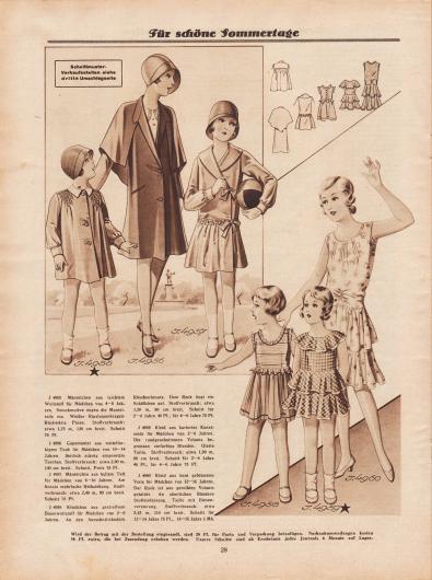 """""""Für schöne Sommertage"""". 4955: Mäntelchen aus leichtem Wollstoff für Mädchen von 4 bis 8 Jahren. Smockmotive engen die Mantelteile ein. Weißer Ripsleinenkragen. Rückwärts Passe. 4956: Capemantel aus mittelfarbigem Tuch für Mädchen von 10 bis 14 Jahren. Seitlich schräg eingesetzte Taschen. 4957: Mäntelchen aus hellem Taft für Mädchen von 6 bis 10 Jahren. Am Ansatz mehrfache Reihziehung. 4958: Kleidchen aus gestreiftem Baumwollstoff für Mädchen von 2 bis 6 Jahren. An den Ausschnitträndern Rüschenbesatz. Dem Rock liegt ein Schößchen auf. 4959: Kleid aus karierter Kunstseide für Mädchen von 2 bis 6 Jahren. Die rundgeschnittenen Volants begrenzen einfarbige Blenden. Glatte Taille. 4960: Kleid aus bunt geblümtem Voile für Mädchen von 12 bis 16 Jahren. Der Rock ist aus gereihten Volants gebildet. An sämtlichen Rändern Stoffeinfassung. Taille mit Biesenverzierung."""