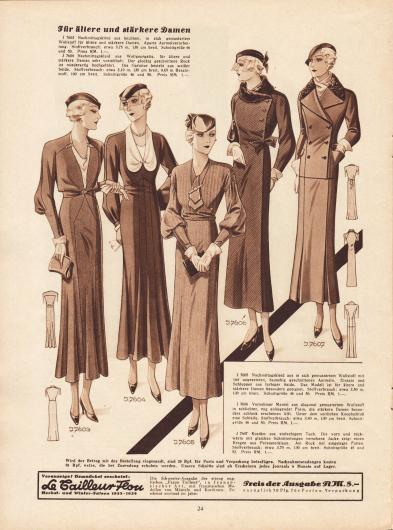 """""""Für ältere und stärkere Damen"""". 7603: Nachmittagskleid aus leichtem, in sich gemustertem Wollstoff für ältere und stärkere Damen. Aparte Ärmelverarbeitung. 7604: Nachmittagskleid aus Wollgeorgette, für ältere und stärkere Damen sehr vorteilhaft. Der glockig geschnittene Rock ist miederartig hochgeführt. Die Garnitur besteht aus weißer Seide. 7605: Nachmittagskleid aus in sich gemustertem Wollstoff mit tief angesetzten, bauschig geschnittenen Ärmeln. Einsatz und Schluppen aus farbiger Seide. Das Modell ist für ältere und stärkere Damen besonders geeignet. 7606: Vornehmer Mantel aus diagonal gemustertem Wollstoff in schlichter, eng anliegender Form, die stärkere Damen besonders schlank erscheinen läßt. Unter dem seitlichen Knopfschluß eine Schleife. 7607: Kostüm aus einfarbigem Tuch. Die vorn und rückwärts mit gleichen Schnitteilungen versehene Jacke zeigt einen Kragen aus Persianerklaue. Am Rock tief eingelegte Falten."""