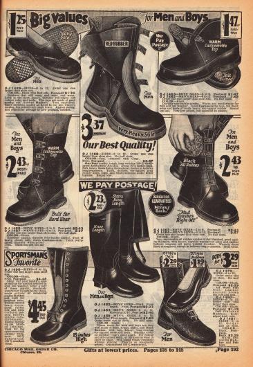 Galoschen, Stiefel und Gummistiefel aus Gummi und teilweise dicht gewebter Kaschmirwolle für Jungen und Männer. Die hochgeschlossenen Schuhe werden über Schnallriemen oder durch Schnürung geschlossen.
