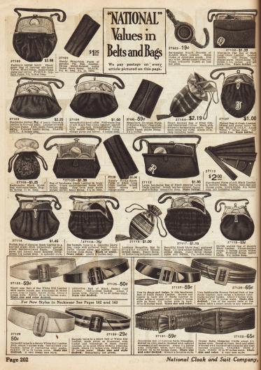 Rahmenhandtaschen und Beutel für Damen, modische Gürtel und Strumpfbänder.