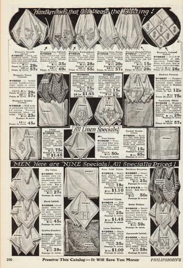 Bevor Papiertaschentücher gebräuchlich wurden, waren Stofftaschentücher in Gebrauch. Die hier abgebildeten Taschentücher für beide Geschlechter sind aus Leinen, Baumwolle oder Batist und sind mit hübschen Motiven oder Initialen bestickt. Die Preise beziehen sich auf sechs oder 12 Stück.