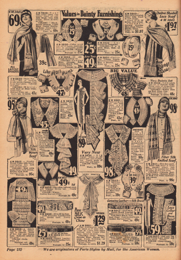 Angebot an Schals, annähbaren Kragen, Jabots und Ärmelaufschlägen aus Netz– und Spitzenstoff und Ledergürteln als modische Accessoires.