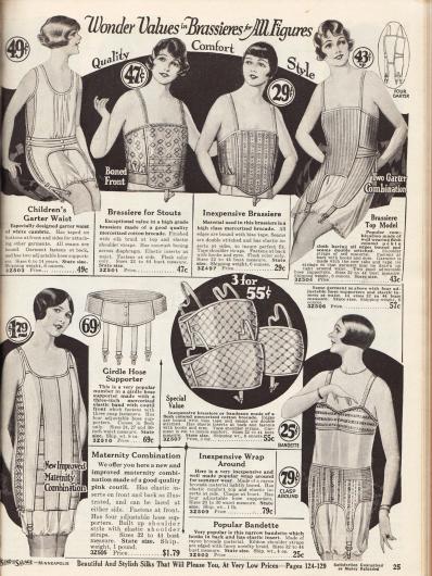 """Unterwäsche für junge Mädchen, Frauen, beleibte Damen und werdende Mütter. Eine Unterhemd-Höschen-Kombination (engl. """"garter waist"""") aus Batist mit Strumpfbandhaltern für 6 bis 14-jährige Mädchen, zwei tiefgehende Bustiers aus gemustertem Baumwoll-Brokat für stärker gebaute Damen, eine Bustier-Strumpfbandhalter-Kombination aus """"pekin cloth"""", einem elastischen und bequemen Korsett aus rosa Coutil (robuster, dichtgewebter Baumwollstoff) für werdende Mütter, einem Hüftgürtel mit vier Strumpfbandhaltern aus merzerisiertem, elastischen Band, einem Angebot von drei Büstenhaltern aus merzerisiertem Baumwoll-Brokat für 55 Cent sowie eine zweiteilige und jeweils separat bestellbare Bustier-Hüftgürtelkombination aus Rayon-Brokat."""