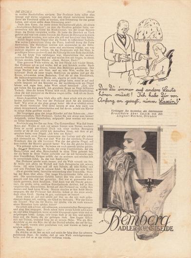 Artikel: Welten, Heinz, Die Eroika. Werbung: Laxin, Lingner-Werke Dresden; Bemberg Adler-Kunstseide, Illustration: Axster Heudtlass, Berlin (1898-1949).