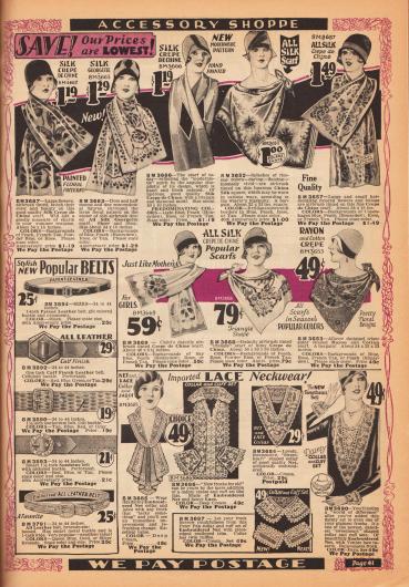 """Oben sind Damenschals aus Seiden Crêpe de Chine, Seiden-Georgette, schimmernder China Seide und Rayon-Baumwolle zu finden. Die Schals sind bemalt mit modernistischen Mustern oder hauptsächlich mit Blütenmustern. Links unten werden Gürtel aus Kalbs- oder Lackleder mit Metallschnallen für Damen beworben. Unten rechts sind Garnituren – Weißwaren (Kragen, Ärmelaufschläge und Westeneinsätze, engl. """"Neckwear"""") – für Kleider und Blusen aus bestickten Netzgeweben zu finden."""