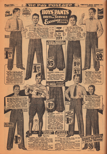"""Arbeits-, Anzug- und Sporthosen für 4 bis 16-jährige Jungen und junge Männer. Die Hosen und Bundfaltenhosen sind aus Kaschmirwolle, Woll-Serge oder reiner Wolle, """"Daytona Suiting"""" (leichter Sommerstoff) sowie Woll-Flanell. In der Mitte werden Knickerbockerhosen (Kniebundhosen) und unten links eine Reithose aus Khaki Gewebe oder Whipcord angeboten."""