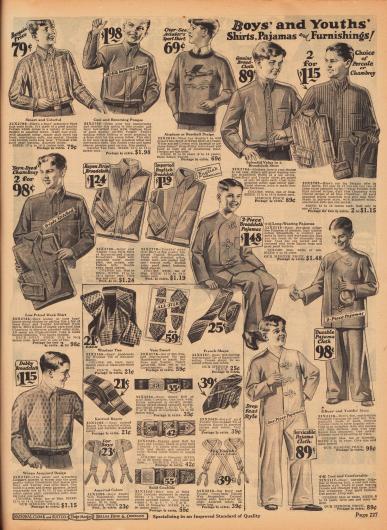 """Anzughemden aus Perkal, Seide, Breitgeweben und Jacquard, Arbeitshemden mit verstärkten Nähten aus Perkal oder Chambray, ein Pullover wahlweise mit Baseball- oder Fliegermotiv (""""Aviator's Sport Shirt""""), ein- und zweiteilige Pyjamas sowie Krawatten, Gürtel und Hosenträger für Jungen."""