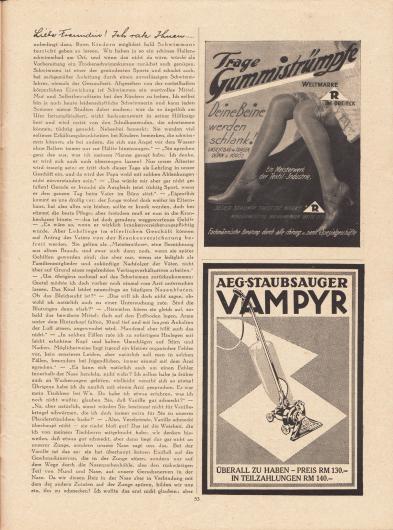 """Artikel: Paula, Anna, Liebe Freundin! Ich rate Ihnen… . Werbung: """"Trage Gummistrümpfe – Deine Beine werden schlank!"""", die Weltmarke mit dem """"R"""" im Dreieck; AEG-Staubsauger Vampyr zum Preis von 130,- RM oder in Teilzahlungen 140,- RM."""