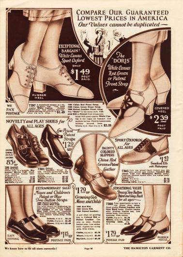 """Schnallenschuhe und Sportoxfords für Damen und junge Frauen sowie Schuhe für Mädchen ab 6 Jahre aus Kanevas (engl. """"canvas""""), Lackleder, Kalbsleder, Chevreauleder (Ziegenleder) oder Wapitileder (engl. """"elk""""). Die Damenschuhe (oben) aus Kanevas sind die passenden Schuhe für warme Sommertage. Darunter befinden sich Schuhe mit niedrigen Absätzen für Mädchen für verschiedene Anlässe."""