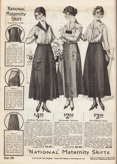 Röcke für die werdende Mütter. Die hier gezeigten Umstandsröcke sind aus Woll-Serge und Woll-Baumwoll-Mischgewebe und speziell für die Bedürfnisse und den notwendigen Tragekomfort der Schwangerschaft konzipiert. Links wird darauf hingewiesen, dass diese Röcke nach dem eigenen Firmenpatent vom 25. Januar 1910 hergestellt werden und besonderen Schutz für Mutter und Kind bieten.