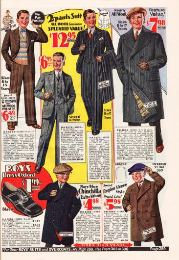Ein legerer Anzug (oben links), zwei elegante Anzüge und ein Mantel für junge Männer von 8 bis 17 Jahren. Der legere Anzug wird mit einem Passenden Pullover geliefert. Alle Anzüge sind aus Woll-Kaschmir oder anderen Wollgemischstoffen. Unten werden zwei Mäntel für Jungen im Alter von 3 bis 8 Jahren aus Chinchillafell und Wolle gezeigt. Rechts von ihnen wird zudem ein passender Anzugschuh für Jungen angeboten.