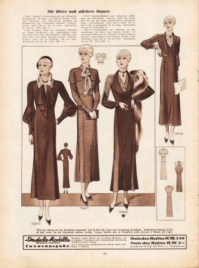 """""""Für ältere und stärkere Damen"""". 6610: Eleganter Nachmittagsmantel aus schwarzem Wollgeorgette für ältere und stärkere Damen. Unter dem Pelzkragen sind Garniturteile befestigt, die kaskadenartig den Vorderteilen aufliegen. 6611: Einfaches Kleid aus genopptem Wollstoff mit flottem Seidenschal und aufgeknöpftem Cape. Das Kleid kann nach nebenstehender Abbildung auch ohne Cape und Schal getragen werden. 6612: Gesellschaftskleid aus schwarzem Crêpe-Satin und Spitzenstoff. Letzterer ergibt die Taille, über die der dem Rock angeschnittene Leibchenteil greift. 6613: Nachmittagskleid mit Jäckchen aus Marocainkrepp, für ältere und stärkere Damen. Am gürtellosen Kleid eine mit Rüschen versehene Seidengarnitur. Das Jäckchen hat halblange Ärmel."""