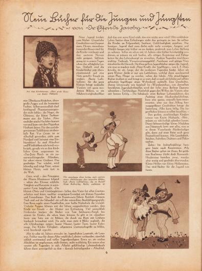 """Artikel: Jacoby, Dr. Elfriede, Neun Bücher für die Jungen und Jüngsten (von Dr. Elfriede Jacoby).  Zum Artikel sind drei Zeichnungen abgebildet mit den Bildunterschriften """"Aus dem Kinderroman: 'Bibis große Reise' von Karin Michaelis [1930]"""" und """"Wir entnehmen diese beiden stark verkleinerten Abbildungen dem reizenden Bilderbuch 'Bunte Luftballons', das im Rudolf Mosse Buchverlag, Berlin, erschienen ist [1928]"""". Illustrationen/Zeichnungen: Hedvig Collin (1880-1964); Lottie Gorn (Lebensdaten unbekannt)."""