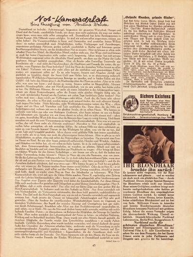 Artikel: Wentz, Paulina, Not-Kameradschaft. Eine Anregung von Paulina Wentz. Werbung: Opel-Zwieback, Leipzig; Strickmaschinengesellschaft, Hamburg 6 Mercurstraße; Deutsch-Schwedische Nurblond Laboratorien, Berlin W62, Burggrafenstr. 9.