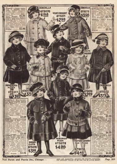 Wärmende Wintermäntel für Mädchen im Alter von zwei bis sechs Jahren aus merzerisiertem Plüsch, Chinchillapelz, Samtcord, Breitgewebe und zweifarbigem Cord-Seiden-Plüsch.