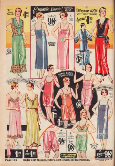 Pyjamas, Nachtgewänder, Hemdhöschen und Pumphöschen zumeist aus Rayon.