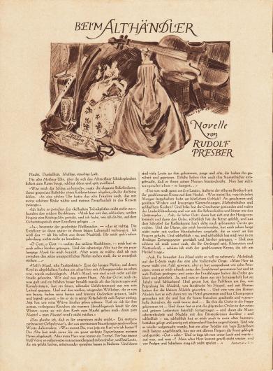 Artikel (Novelle): Presber, Rudolf (1868-1935), Beim Althändler. Zeichnung/Illustration: Heinz Raebiger (1903-ca.1955).