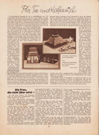 """Artikel: O. V., Für Tee- und Kaffeetisch.  Passend zum Artikel sind zwei Fotografien abgedruckt. Die Bildunterschriften lauten """"Neuartiger, zusammenlegbarer Kuchenschirm"""" und """"Links: Japanisches Teehäuschen aus Bast geflochten als Teewärmer"""". Fotos: Delia.  Werbung: """"Die Frau, die nicht älter wird –"""", Marylan-Creme, Marylan-Vertrieb, Berlin 171, Friedrichstr. 24."""