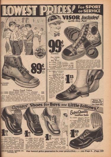 Jungenschuhe für Sport und Alltag. Die oberen beiden Modelle sind heute als 'Chucks' bekannt.