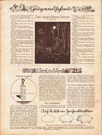 """Artikel (Jugendschau): E. F. M., Der vergrabene Schatz; o. V., Spiel und Spaß (Wieviel Augen?; Der Unterschied; Du kannst Gedanken lesen!). Darunter befindet sich eine einfache Anleitung für Kinder zum Zeichnen eines Schweines (""""Auch du bist ein Zeichenkünstler""""). Zeichnungen: unbekannt. Impressum der Illustrierten Modenschau."""