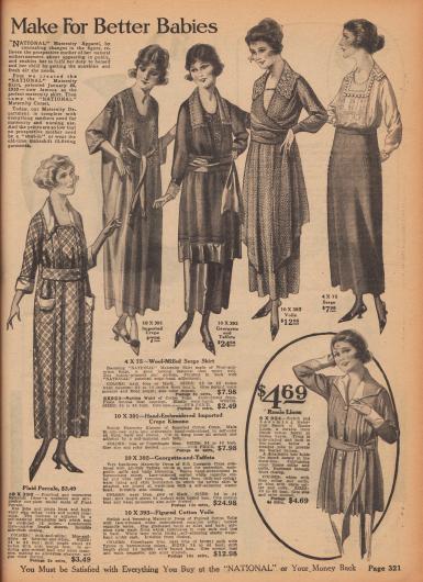 """""""'National' Mutterschaftskleidung sorgt für bessere Babys"""" (engl. """"['National' Maternity Garments] Make For Better Babies""""). Umstandsmode. Einfache Umstandskleider aus kariertem Perkal oder gemustertem Baumwoll-Voile (Schleierstoff), ein elegantes Schwangerschaftskleid aus Georgette und Taft, ein von Hand bestickter Umstands-Kimono aus importiertem Baumwoll-Krepp, ein Umstands-Rock aus Woll-Serge mit anpassbarem Gürtel sowie eine Kasack (lange Bluse) aus Ramie-Linon (Leinen-Baumwollgewebe)."""