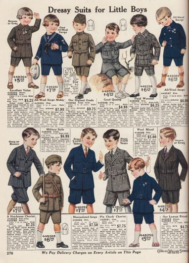 """""""Schicke Anzüge für kleine Jungs"""" (engl. """"Dressy Suits for Little Boys""""). Anzüge im Norfolk-Stil sowie Matrosen- und Militäranzüge für Jungen und kleine Jungen im Alter von 3 bis 10 Jahre. Die Anzüge sind aus unifarbenem oder kleinkariertem Woll-Cheviot, Woll-Serge, Khakigewebe oder kariertem Wollgewebe."""