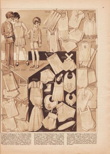 5730: Pyjama de petit garçon en soie lavable bleue. Plastron et garniture en soie imprimée. 5731: Combinaison d'enfant en batiste; bandes bouillonnées. 5732: Vêtement d'intérieur pour petit garçon. En nansouk, dépassant de couleur. 5733: Combinaison d'enfant en batiste; plis fins, entre-deux dentelle. 5734: Combinaison d'enfant en chiffon; bord au crochet. 5735: Robe de dessous en voile avec des plis, des plis fins et de la dentelle. 5736 et 5737: Parure en batiste, ornée de fine broderie. 5738: Chemise de nuit pour enfant. En toile, garniture de feston et de pois brodés. 5739: Combinaison d'enfant en linon; garniture de Valenciennes. 5740: Chemise de nuit d'enfant en percaline. Smocks, monogramme brodée. 5741: Combinaison d'enfant en linon, plis creux. 5742: Combinaison d'enfant en batiste, garniture en batiste rayée. 5743: Chemise de jour en chiffon, dentelle. 5744: Combinaison d'enfant en linon, points fantaisie. 5745: Combinaison d'enfant en percaline, points fantaisie. 5746: Ceinture de bébé en flanelle. 5747: Pantalon-couche en shirting. 5748, 5750 et 5756: Bavettes de bébé en linon et en chiffon. Comme garniture de la broderie et un dépassant de couleur. 5749: Combinaison-couche en shirting. 5751: Cape de bébé en flanelle, petit capuchon tenant à même. 5752: Robe de bébé en flanelle, fermée du bas. 5753: Chaussons de bébé en flanelle; feston motifs brodés. 5754: Vêtement de dessous en flanelle; feston, motifs brodés. 5755: Chemise de nuit en flanelle; points fantaisie. 5757: Pantalon-couche en molleton. 5758: Pantalon en shirting, avec des bretelles et des dents. 5759: Combinaison d'enfant en batiste, ornée de tulle et d'une guirlande brodée. 5760 et 5762: Parure en batiste blanche. Bordure en batiste de couleur, ajours. 5761: Combinaison d'enfant en batiste de couleur, garniture blanche. 5763: Chemise de nuit en chiffon, formant un empiècement. Garniture de feston. 5764: Vêtement de dessous en batiste; Malines, plis fins. 5765: Chemise de nuit en percaline; 