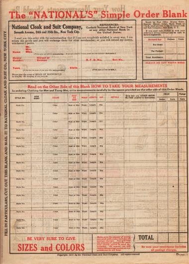 Heraustrennbarer Bestellschein des National Cloak & Suit Co. Versandhauskataloges von 1917-1918. Angegeben werden müssen die Adresse, die Artikel mit Konfektionsgröße und gewünschter Farbe sowie der der Bestellung beigefügte Barzahlungsbetrag.