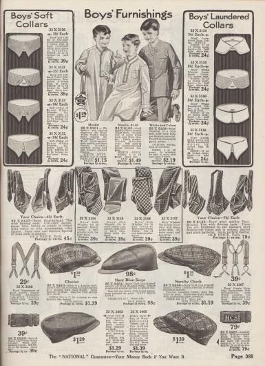 """""""Ausstattungen für Jungen"""" (engl. """"Boy's Furnishings""""). Notwendige Accessoires für Jungen, wie waschbare Hemdkragen aus Seiden-Baumwoll-Bengaline oder Madras mit spitzen oder abgerundeten Flügeln, Nachthemden aus Musseline mit Knopffront oder Posamentenverschlüssen (engl. """"frogs"""") für 5 bis 16-jährige Jungen, bunte und gemusterte Krawatten aus Seide, elastische Hosenträger, Ledergürtel sowie Schiebermützen aus Cheviot-Wolle, Kammwoll-Serge, kariertem Baumwollstoff oder Woll-Baumwoll-Tweed."""