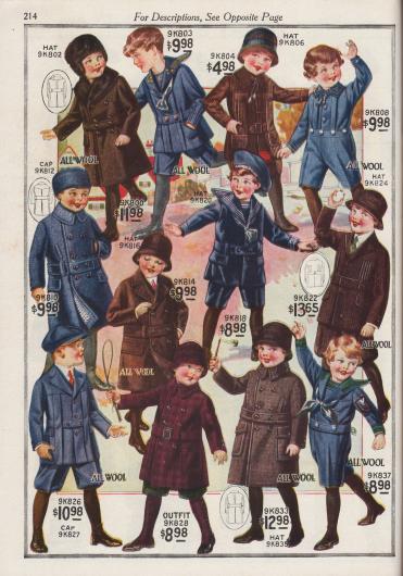 Spielanzüge und Übermäntel für Jungen für den Winter.