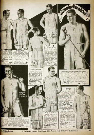 Doppelseite mit Herrenunterwäsche. Hemdhosen mit kurzen Beinen mit Knöpffront aus Baumwollstoffen oder Nainsook (zartes Musselin) für Sport und andere Gelegenheiten.