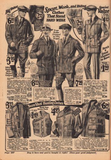 Sport-, Reit- und Arbeitskleidung. Auch Jagdkleidung findet sich auf der Seite unten.