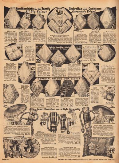 Stofftaschentücher aus Leinen, Baumwolle, Seiden-Georgette Krepp und Spitze, Seiden Crêpe de Chine und importierter japanischer Seide für die ganze Familie. Im unteren Bereich befinden sich Regenschirme bespannt mit Baumwoll-Taft oder Seiden-Taft und mit elegant geformten Griffen für Frauen, Männer und Kinder. Unten werden Kissen mit Motiven angeboten. Rechts mittig wird eine Handtasche für Mädchen mit aufgemaltem Flapper Gesicht feilgeboten.