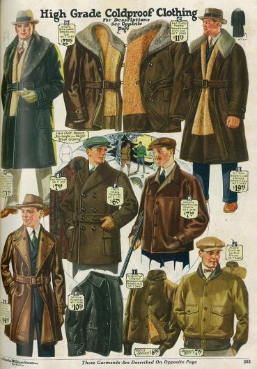 Ulstermäntel mit Opossum- und Schafspelzbesatz (A & D), zwei Lederjacken mit Pelzbesatz und Innenfutter (B & C), ein Mantel aus Handschuhleder für Autofahrten (E), eine doppelreihige Mackinaw Jacke mit Gürtel (F & G), drei Lederwesten (H, I, K) und ein Blouson mit aufgenähten Taschen.