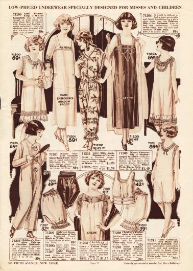 Pyjamas, Unterhemdchen, Hemdhosen, Unterröckchen, Nachthemden, eine einteilige Hemd-Pumphöschen-Kombination und Pumphöschen für Mädchen und kleine Mädchen. Die Unterwäsche und Nachtwäsche ist aus Baumwollgeweben, Baumwoll-Krepp, Satin, Nainsook (besonders leichter Musselin) oder Chambray gewebt und oft bestickt. Spitzenränder, Rüschen und Durchzugstickerei sind an einzelnen Modellen zu finden.