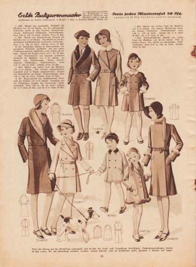 4610: Mantel aus genopptem Wollstoff für Mädchen von 10 bis 14 Jahren. An den aufliegenden Capeteilen sowie an den Taschen Steppereiverzierung. Hellbrauner Pelzkragen. 4611: Mantel aus beigefarbenem Flausch für Mädchen von 6 bis 10 Jahren. Das Modell ist mit Raglanärmeln und Rückenfalte verarbeitet. R 443: Sportlicher Mantel im Raglanschnitt, aus genopptem Wollstoff gearbeitet und mit einem Pelzkragen garniert. Schnitt für Knaben von 6 bis 10 J., Pr. 75 Rpf. 4612: Wintermantel aus diagonal geripptem Wollstoff für Mädchen von 8 bis 12 Jahren. Im Rücken eine Faltengruppe. Breite Revers, schmaler Pelzkragen. 4613: Mantel aus rotem Tuch für Mädchen von 4 bis 8 Jahren. Die seitlich aufgearbeiteten Capeteile sind in Bogen ausgeschnitten. Kragen und Manschetten aus Kanin. R 461: Raglanmantel aus modefarbenem Wollstoff für Knaben von 2 bis 6 Jahren. Stepperei und ein Pelzkragen ergeben die Garnierung. Schnitt für 2 bis 4 Jahre 40 Rpf. und für 4 bis 6 Jahre 75 Rpf. 4614: Mantel aus hellem Tuch für Mädchen von 2 bis 6 Jahren. Am unteren Mantelrand sowie am Kragen Pelzbesatz. Schnitt für 2 bis 4 Jahre 40 Rpf., für 4 bis 6 Jahre 75 Rpf. 4615: Hochschließender Mantel aus rotem Tuch für Mädchen von 10 bis 14 Jahren. Pelz in hellem Braun. Der Gürtel ist durchsteppt.