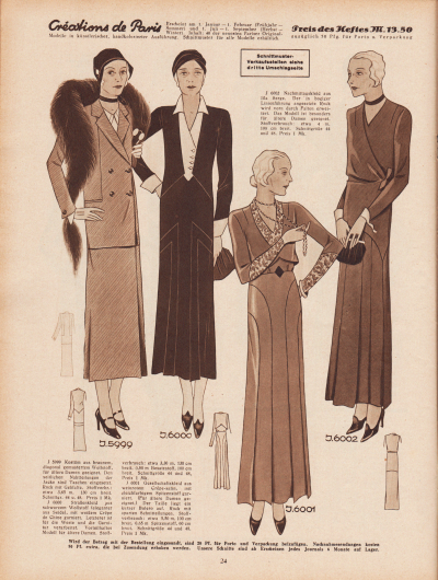 5999: Kostüm aus braunem, diagonal gemustertem Wollstoff, für ältere Damen geeignet. Den seitlichen Nahtteilungen der Jacke sind Taschen eingesetzt. Rock mit Gehfalte. 6000: Straßenkleid aus schwarzem Wollstoff (eleganter aus Seide), mit weißem Crêpe de Chine garniert. Letzterer ist für die Weste und die Garnitur verarbeitet. Vorteilhaftes Modell für ältere Damen. 6001: Gesellschaftskleid aus weinrotem Crêpe-Satin, mit gleichfarbigem Spitzenstoff garniert. (Für ältere Damen geeignet.) Der Taille liegt ein kurzer Bolero auf. Rock mit aparten Schnitteilungen. 6002: Nachmittagskleid aus lila Serge. Der in bogiger Linienführung angesetzte Rock wird vorn durch Falten erweitert. Das Modell ist besonders für ältere Damen geeignet.