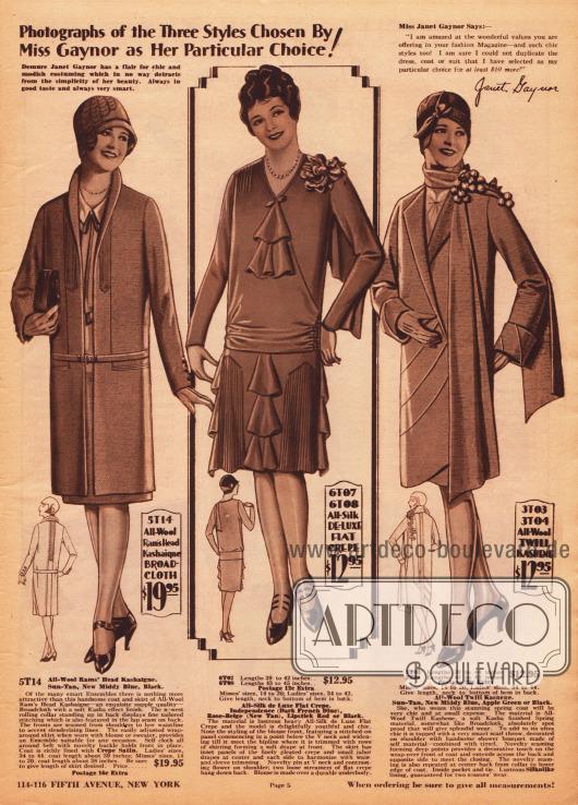 Mit dem Gesicht des Fox Filmstars Janet Gaynor (1906-1984) werden auf dieser Seite ein Ensemble, ein Nachmittagskleid und ein Mantel beworben. Das Gesicht der Schauspielerin ist hierfür in die Modelle montiert worden. Oben rechts befindet sich ein Testimonial der Schauspielerin. Das Ensemble links besteht aus einem Mantel und aus einem Rock, die beide aus kashaartigem Woll-Breitgewebe gefertigt sind. Es folgt ein Nachmittagskleid aus Seiden Krepp mit Jabot Rüschen an Ausschnitt und Rock sowie Plisseeeinsätzen im Rock. Rechts ist ein Mantel aus Woll-Kasha zu sehen, zu dem ein überlanger Schal gehört.