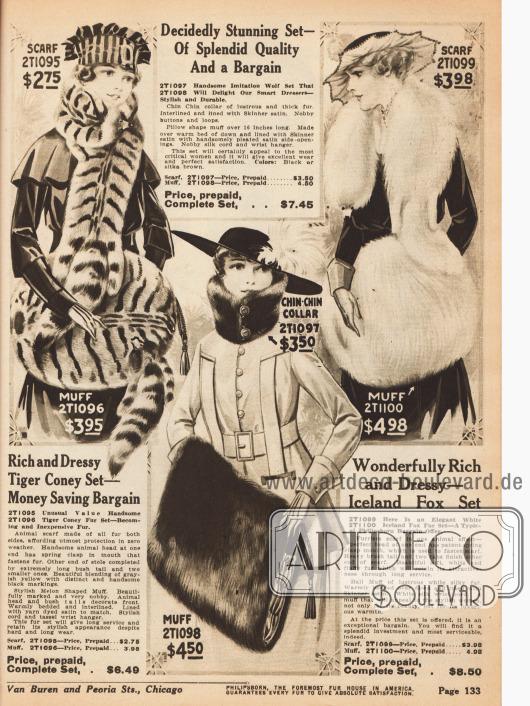 """Doppelseite mit günstigen Pelzsets bestehend aus Schals, Kutscherkragen (erstes Modell), """"Chin-Chin"""" Kragen (fünftes Modell) und den dazu passenden Muffen. Alle Pelze sind aus Kaninchen (auch in Tiger-Färbung erhältlich), Wolfsimitat und Islandfuchs und sind im Set für bis zu 8,50 $ erwerbbar."""