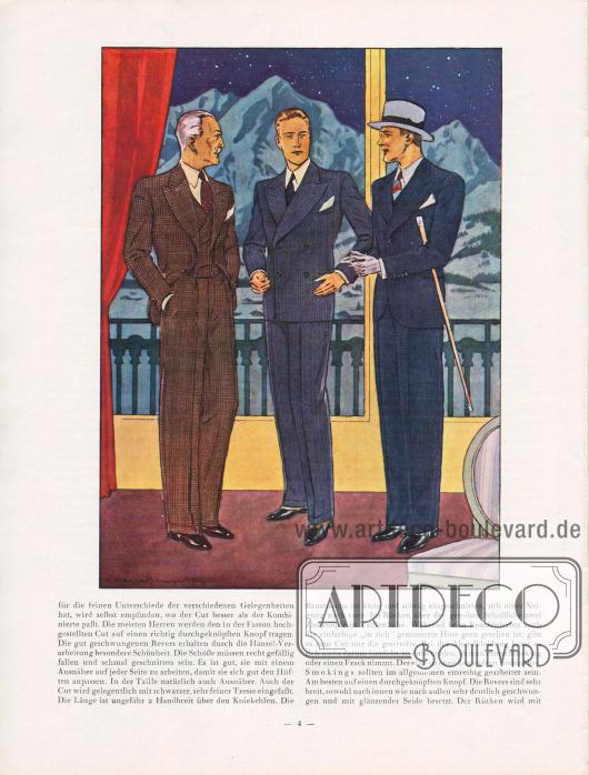 Artikel: Henschke, Bruno, Die Mode für Herbst und Winter 1929/30. Ein Modebrief.  Wichtigster Bestandteil der Herrengarderobe ist der Sakkoanzug. Die modische Silhouette des Sakkos im Herbst 1929 zeigt sich in breiten Schultern, die nicht eckig, aber auch nicht rund gepolstert sind, in einer gut betonten Taille und gleitenden Hüften. Die Revers sind gerade oder steigend, stets aber weit ausladend, gearbeitet. Die Brusttasche - für Stecktücher - ist schräg eingeschnitten. Ob der Herr lieber einen Einreiher oder einen Zweireiher trägt ist seinem persönlichen Geschmack überlassen. Kammgarne, glatt, gemustert oder angeraut, feste und lockere Gewebe wie Saxons, schwere Gabardine und Cheviots sind die bevorzugten Stoffe der Saison. Karos, Punkte, Sprengel, Melangen, Figurendessins und Steifen in ausgesprochen kleinen Musterungen werden bevorzugt. Zeichnung/Illustration: Harald Schwerdtfeger (1888-1956).