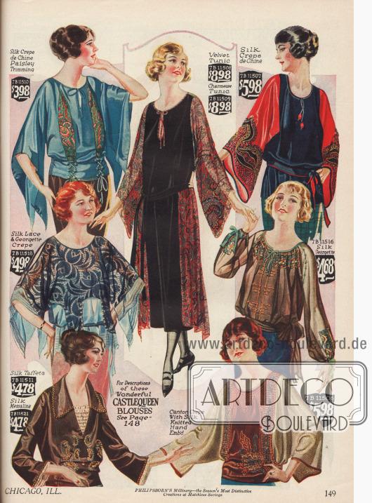 """Modische """"Castlequeen"""" (Burgfräulein) Damenblusen, eine Tunika und halbtransparente Überblusen. Die Blusen sind aus Seiden Crêpe de Chine, Seidenspitze und Georgette, Seiden-Georgette, Seiden-Taft, Seiden-Messaline und Canton-Krepp. Auffällig sind die überbreiten, teilweise geschlitzten Schmetterlings-, Kimono-, Glocken und russisch angehauchte Ärmel (unten rechts) die charakteristisch für die Mode gegen Mitte der 20er sind. Großzügige Stickereien und Stoffeinsätze in Paisley-Musterung finden reiche Verarbeitung."""