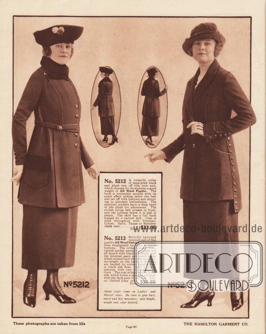 Zwei Kostüme der gehobenen mittleren Preiskategorie aus Woll-Popeline und Woll-Oxford für Damen mit Geschmack. Das Kostüm links besitzt einen konvertiblen Kragen aus sich dunkel absetzendem Seehundfell-Plüsch, das auch für die Oberseite der Taschen Verwendung gefunden hat. Ausgehend von der Schulter fällt ein Paneel bis unterhalb des Gürtels, wo es mit Knöpfen und blinden Knopflöchern versehen ist. Kostümjacke mit eingelegten Falten im Schoßbereich. Die Kostümjacke des rechten Modells ist doppelreihig und zeigt einen bis zur Taille geführten Schalkragen. Paspeln führen beidseitig von den Schultern bogig bis zur Hüfte, wo Taschen verborgen sind. Verlängerter Rücken und gestickte Pfeilspitzen an den Enden der Paspeln im Rücken.