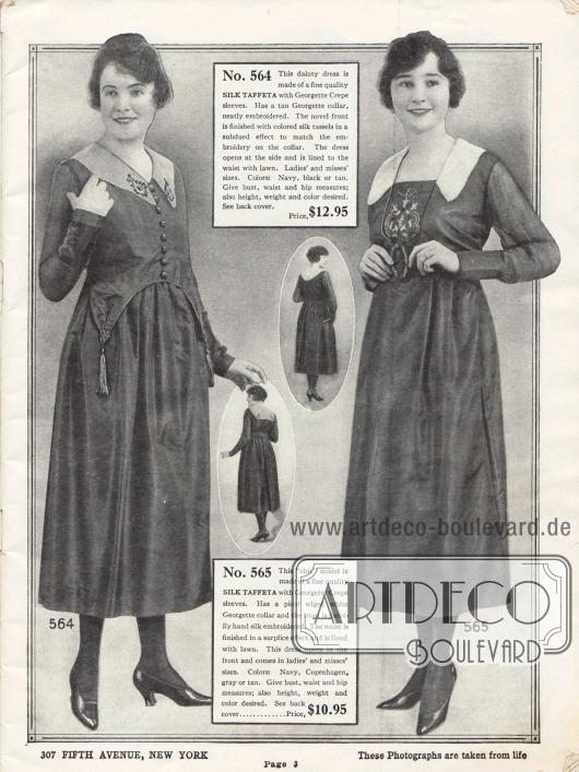 Kleider aus Seiden-Taft. Das erste Kleid besitzt einen Kragen aus Georgette und zeigt feine Stickerei. In der Frontpartie läuft der Stoff beidseitig spitz zu und endet in zwei Quasten aus Seide. Auch das zweite Kleid zeigt in der Front eine dezente Stickerei.