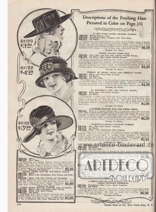 Hüte für Damen zu Preisen von 3,98 oder 4,98 Dollar. 6K120 / 6K121: Breitkrempiger Segelhut mit nach oben gebogener Krempe aus Samt und Plüsch, bestellbar in Marineblau oder Schwarz. Hutkopf mit breitem Ripsband. 6K122 / 6K123 / 6K124: Kleidsamer kleiner, pilzförmiger Hut und aus schwarzem Seiden-Samt. Ripsband und große Gänseblumen als Aufputz. Hochgerollte Krempe. 6K125 / 6K126 / 6K127: Florentinerhut aus schwarzem Samt mit breiter, glatter Krempe mit abgefütterter Unterseide in Kopenhagen-Blau oder Rosa. Als Aufputz Ripsband mit Rosette.