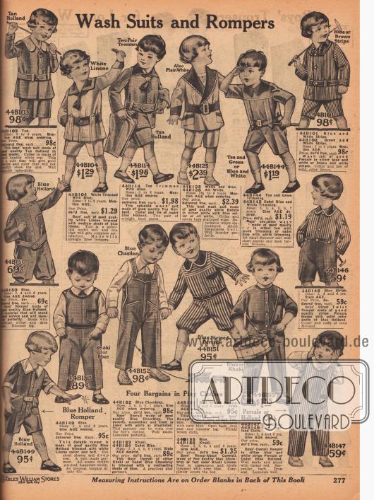 """""""Waschbare Anzüge und Spielanzüge"""" (engl. """"Wash Suits and Rompers""""). Leicht waschbare Spielanzüge mit kurzen Hosen und Overalls zum Raufen, Spielen und Toben für 2 bis 8-jährige Jungen. Die Anzüge sind aus """"Tan Holland"""" (?), weißem Leinen, Batist, gestreiftem Perkal, Khakigewebe oder Chambray. In der Mitte rechts ein Oliver Twist Spielanzug."""