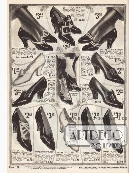 Sechs Pumps, vier Kolonialpumps (mit Frontlasche oder Metallschnalle) und zwei Schnallenschuhpaare für mondäne und modebewusste Damen aus Lackleder und Chevreauleder (Ziege). Farblich kontrastierende Lederverarbeitungen, Ziernähte oder Perforationen geben jedem Schuh einen distinguierenden Charakter. Louis XIV Absätze und spitz zulaufende, aber abgerundete Kappen sind en vogue.Für das Paar oben rechts werden auch gleichzeitig kostenlose Gamaschen mitgeliefert (Bildmitte).